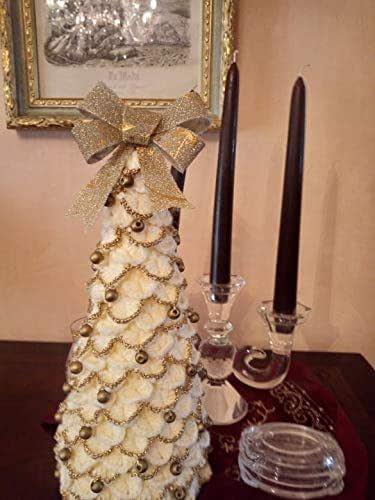 albero di natale-uncinetto,regalo,oro-panna