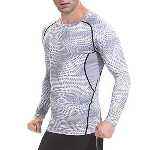 Celucke Langarm Funktionsshirt Herren Kompression Sport Funktionsunterwäsche Sportunterwäsche, Unterhemden Männer Kompressionsshirt Compression Shirt Laufshirt