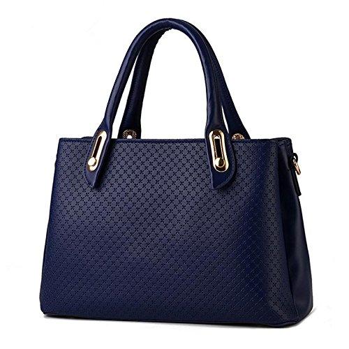 HQYSS Borse donna PU cuoio stereotipi croce corpo tinta unita donna tracolla Messenger Handbag , treasure blue treasure blue
