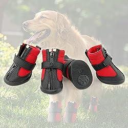 Grand Line Wasserdichte Hundestiefel, Pfotenschutz, Hundeschuhe mit verschleißfesten und rutschfesten Sohlen - Größe M