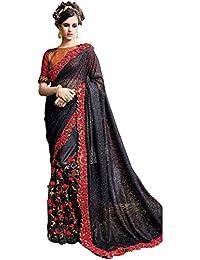 Swara Fashion Women's Georgette Thread Work Saree(SFA-1635_Black)