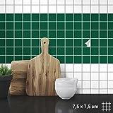 Wandkings Fliesenaufkleber - Wähle eine Farbe & Größe - Dunkelgrün Seidenmatt - 7,5 x 7,5 cm - 200 Stück für Fliesen in Küche, Bad & mehr