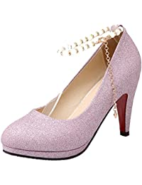 AIYOUMEI Damen Glitzer High Heels Spitze Pumps Hochzeit mit Riemchen Geschlossene Sandalen Absatz 8cm