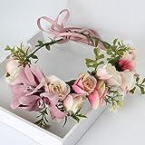 AWAYTR Blumen Stirnband Hochzeit Haarkranz Blume Krone (Bleich Malvenfarben) - 7