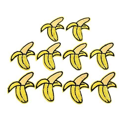 Hongma 10x Banane Aufbügler Aufnäher mit Paillette für Kleid Hut Schuhe Applikation DIY (Für Kleid Frauen Banane)