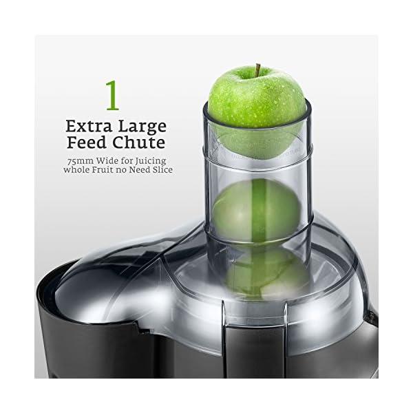 Centrifuga Frutta e Verdura, Aicok Estrattore di Succo a Freddo bocca larga da 75mm, Estrattore BPA Free, Antiscivolo, Protezione Sovraccarico, Estrattore per Frutta e Verdura, 500W - 2021 -