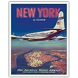 New York USA mit dem PAN AM Clipper - Boeing 377 über Manhattan Insel - Pan American World Airways - Vintage Retro Fluggesellschaft Reise Plakat Poster c.1950 - Kunstdruck - 41cm x 51cm