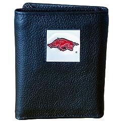 Arkansas Razorbacks Genuine Leather Tri-fold Wallet