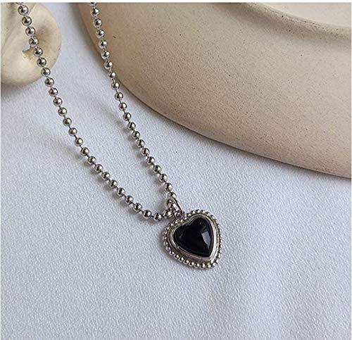 ksufnjekls Bohemia Pura S925 Plata Joyería Romántica En Forma De Corazón con Ónix Negro Piedra Natural Colgante Collar De Cadena De Cuentas