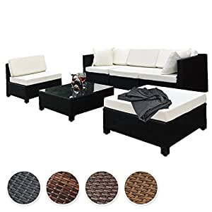 TecTake Luxury rattan aluminium garden furniture sofa set outdoor wicker + 2 sets for exchanging the upholstery, stainless steel screws -different colours- (Black)