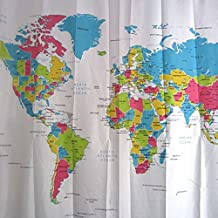 Cortina para ducha impermeable diseño Mapa Mundi 180 x 180 cm