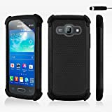 32nd� Shock proof heavy duty dual protector case cover for Samsung Galaxy Ace 3 S7270 + screen protector, cleaning cloth and touch stylus - Black