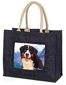 Advanta–Große Einkaufstasche Berner 'Love You Dad' Große Einkaufstasche Weihnachtsgeschenk Idee, Jute, schwarz, 42x 34,5x 2cm