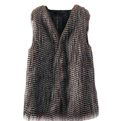 Yilianda donna pelliccia sintetica invernale elegante faux fur lungo cappotto senza maniche giacca parka autunno l