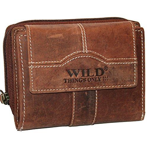 Neue Geldbörse Leder Damen Frauen Portemonnaie Geldbeutel Top Qualität braun WILD NEU (Damen Geldbörse Neue)
