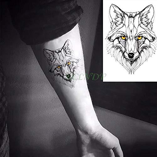 6pcs autoadesivo impermeabile del tatuaggio animale lupo leone aquila tatto tatoo mano polso piede braccio collo tatuaggi per uomo donna colore misto 10x7 cm