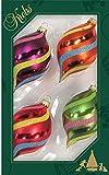 Original Lauschaer Árbol de Navidad–Juego de 4, multicolor con Diagonal Rayas y Glitter Decoración, 10cm.