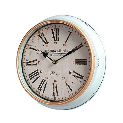 COCO Style américain Bleu Campagne Créative Horloge antique Salon Salon de restaurant Chambre Horloges Horloges Horloges Style européen Retro Silent Hanging Table HOME