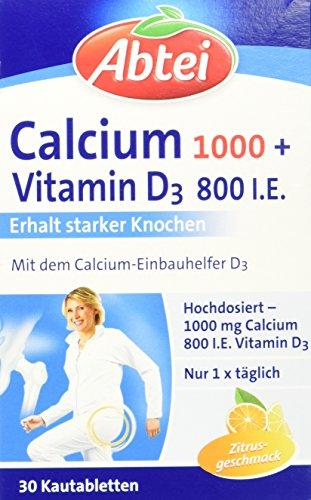 Abtei Calcium 1000 + D3 Osteo Vital, Kautabletten, 30 Stück (1 x 113g) (Kautabletten Kalzium)