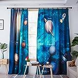 JINZA Vorhänge Sphere Cosmic Planet Muster Vorhänge/fertig/Modern Cartoon Kinderzimmer Schlafzimmer Blackout Gardinen Kindergarten Klassische Vorhänge Mode Gardinen Polyester, 2.5m