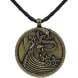 Viking barco buque Medieval nórdico Odin lobo colgante collar piel de bronce antiguo nudo escandinavo Raven Mjolnir Ladies Hombres celta nórdico NORDIC Rune Talisman Saxon