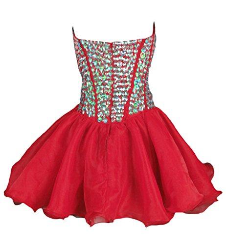 ... Vantexi Frauen Kristall Kurz Abendkleid Formal Ballkleid Partykleid Rot  ...