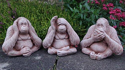 Scimmie parlare, vedere, non sento, decorazione da giardino in pietra/Statua/Scultura