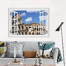 Malilove Anfiteatro Romano Coliseo 3D Ventana Falsa Pared Pegatinas Salón Dormitorio Decoración Ciudad Paisaje Arte Mural Paisaje Etiquetas Inicio