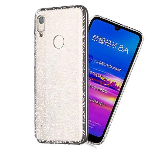 Preisvergleich Produktbild Bling Glitzer weich Hülle für Huawei Y6 2019 / Honor 8A, Kreative Klar Durchsichtiges Transparent Flexible Sparkle Quicksand Rückseite Beschützer