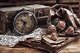 Postereck - Poster 0969 - Vintage, Uhr Rosen Buecher Wecker alt altmodisch rosa Größe 3:2-30.0 cm x 20.0 cm