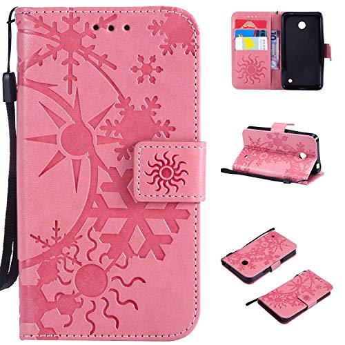 Ycloud Einzigartig PU Leder Tasche für Nokia Lumia 635 Wallet Flipcase mit Standfunktion Kartenfächer Entwurf Sternenhimmel Prägung Rosa Hülle
