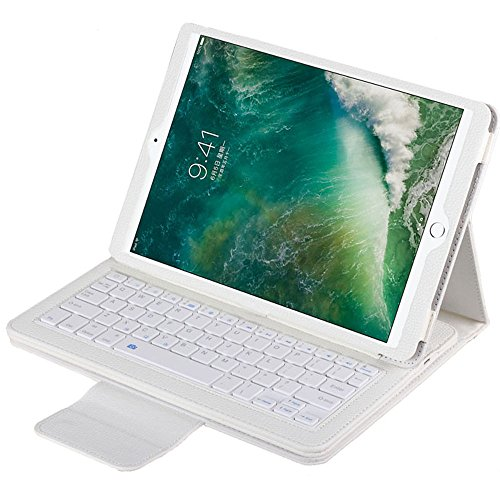 """iPad Pro 10.5"""" Wireless Bluetooth Tastatur mit Hülle, Olycism Ledertasche mit trennbarer Tastatur für iPad Pro 10.5"""" (Weiß)"""