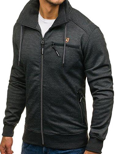 BOLF Herren Sweatshirt Sweatjacke Langarmshirt Stehkragen Zip 1A1 MIX Schwarz_2067