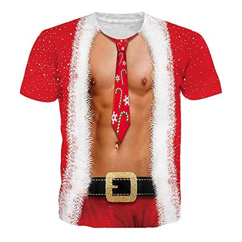 Polos Manga Corta Hombre, Modaworld Camisas De Impresión Unisex De Navidad Camiseta con Estampado Navideño para Hombre Camisa De Manga Corta