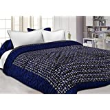 Double Bed Size Jaipuri Silk AC Quilt Razai Blanket, Dohar With Gold Prints Double Bed Quilt/Comforter Winter Quilt - Blue