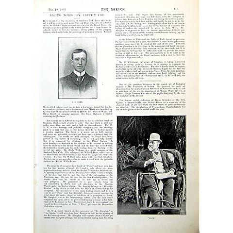 Gotta di Sofferenza del Vecchio della Stampa di Cc Kerr Pavone Vittoriano Antico Originale del Ritratto In Bathchair 1893