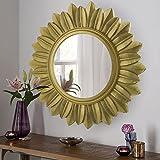 Homesake Sunburst Decorative Wooden Handcarved Wall Mirror, Royal Gold