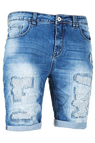 6a31840be243 Sublevel Jeans Shorts Kurze Hose Herren Joggjeans Denim Capri Bermuda  Vintag (Mittelblau, W38)