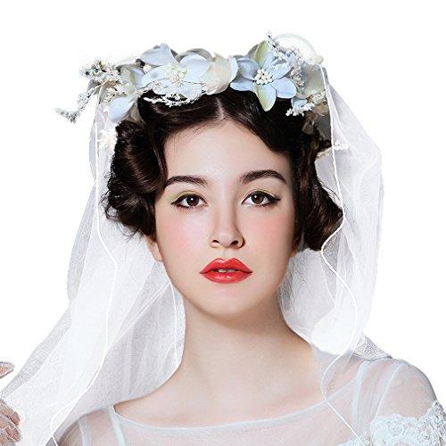 Cereoth Flower Wreath Floral Crown Elegent Lace Appliques Wedding Veil white