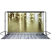 Musykrafties Christmas Occasions Star Sparkles Setting with Wooden Floors Photography Backdrop Background Party Wall Photo Booth Props Champagne 10x10ft