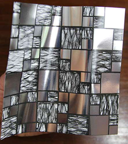 24 Cromo negro plateado PEGATINAS lisas para pegar sobre azulejos cuadrados de...
