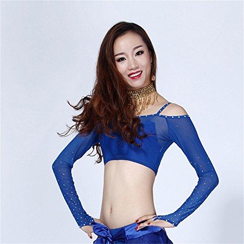 Women Sexy Dance Tops Bauchtanz Costume Long Sleeve Net Yarn Crystal Dancewear Bauchtanz Tops Dark Blue