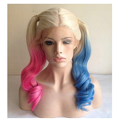 Cupidlovehair, parrucca bionda lunga e mossa, sintetica, sfumata nei colori rosa e blu, per cosplay, con lace front, 55,9cm