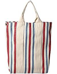 Preisvergleich für Achun Lektion Tragetaschen Weibliche Vertikale Streifen Leinwand Abnehmbare Schultergurt Hohe Kapazität Tasche...