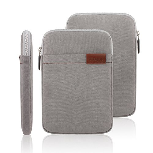 "Kamor® 7"" 8"" zoll Canvas Fabric tablet hülle Tablet Sleeve Case Cover Shell notebooktasche laptoptasche with tasche/pocket - Superior ProtectionLaptop Sleeve Case Bag/Notebook Computer Case/Briefcase Carrying Bag/Ultrabook Laptop Bag Case/Pouch Cover/Skin Cover/netbook tasche/tablet case/notebook hülle tasche/laptophülle/Hülle Sleeve Tasche / Hülle Ultrabook Laptop Tasche / Neopren hülle Sleeve / Ultrabook Hülle Ledertasche Sleeve / Hülle Sleeve Tasche/ Computer Zubehör with 5.0mm thickness for Apple/Asus/Acer/Samsung/Chromo Inc/Dragon touch/Dell/Lenovo/Microsoft/Nokia/Google/HP/HTC//Sony/Odys/Xido/TrekStor/Archos/Intenso/NINETEC/Gigaset/Nvidia/Star Tablet/eBook, suitable for Apple iPad Mini/iPad Mini 2, Asus Google Nexus 7, Asus Memo Pad HD 173/176/170, Dell Venue 7/8/8pro, Samsung Galaxy Tab 3/4/Pro/S/Samsung Galaxy Tab 3 7.0 Lite / Samsung Galaxy Note 8.0 tablet, especially for teens/kids/children/childs/women/ladies/girls/boys design(Gray)"