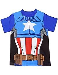 Captain America T-Shirt Official Marvel Avengers Kids Costume Clothing (2-3 Years, Captain America 54359)
