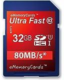 eMemoryCards 32GB Ultra Fast 80MB/s SD SDHC Memory Card for Panasonic Lumix DMC-FZ72EB-K Camera