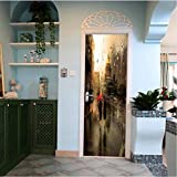 asfrata265 Sticker Mural Pluie Fenêtre d'eau Porte Autoadhésive Affiche Murale Art...