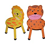 HOME HUT Kids Wooden Lion Chair - Childrens Toddler Animal Jungle Themed Gift