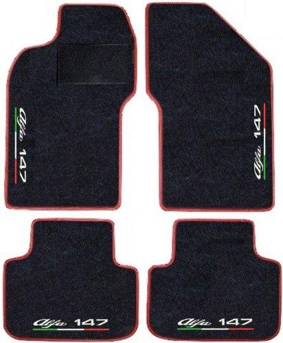 Tappeti per auto Neri con Bordo Rosso, set completo di Tappetini in Moquette su Misura, Ricami a filo Linea Tricolore Italiana SPEDIZIONE GRATIS